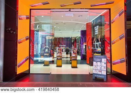 KUALA LUMPUR, MALAYSIA - CIRCA JANUARY, 2020: entrance to MAC store in Pavilion Kuala Lumpur shopping centre.