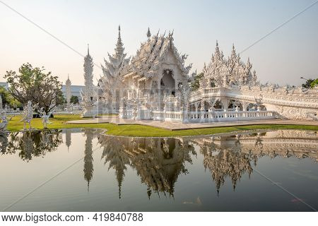 White Temple (wat Rong Khun) Is One Of The Most Famous Attractions Of Chiang Rai Province Northern T