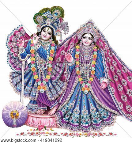 Indian God Radhakrishna, Indian Lord Krishna, Indian Mythological Image Of Radhakrishna