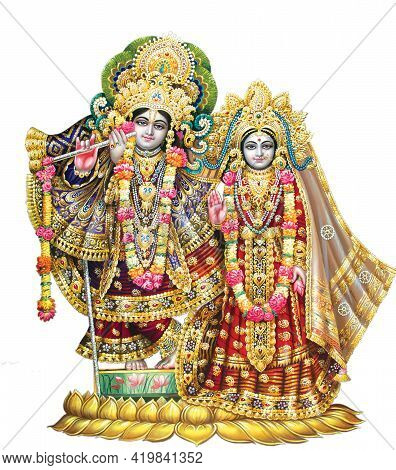 High-resolution Indian God Radha Krishna Illustrations, Digital Paintings.