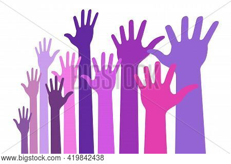Up Hands Bright Colorful Distort Icon. Raised Hands In Perspective. Vector Logo Distorted Illustrati