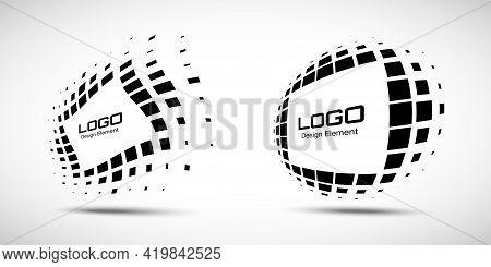 Logo Perspective Frame. Set Abstract Rectangle Dots Emblem Design Element For Technology. Distort Bo