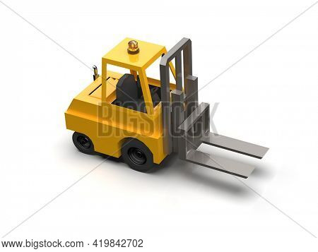 3d Illustration Lowpoly Icon Forklift Truck HeavyLoader Cartoon Style Simple Isolated,Hydraulic MachineryHeavy Duty Equipmentfor WarehouseStorage Delivery PackagingInfographics