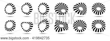 3d Circular Striped Frames Set. Three Dimensional Stripy Distort Shapes Isolated On The White Backgr