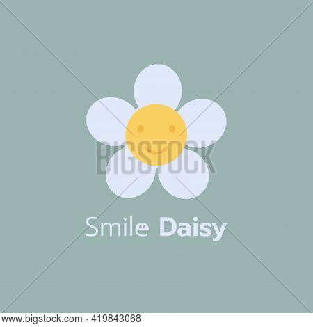 Minimal White Daisy Chamomile Icon. Big Camomile.daisy Flower Smile Concept On Blue Background Isola
