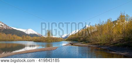 Moose Flats Wetland And Portage Creek In Turnagain Arm Near Anchorage Alaska United States