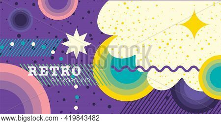 Retro Background, Cover, Poster Template Hippie Style From The 1960S.