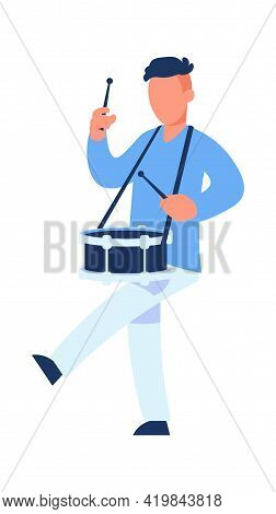 Drummer. Cartoon Man Playing Drum. Male Character Marching With Percussion Musical Instrument. Milit
