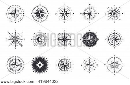 Wind Rose. Compass Signs. Nautical Instruments For North Orientation. Black And White Contour Cartog