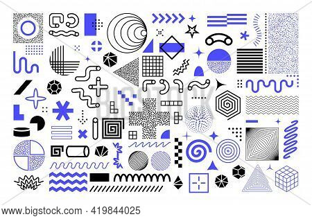 Memphis Geometric Shapes. Abstract Graphic Figures. Minimal Contour Flat Style Forms Set From Lines