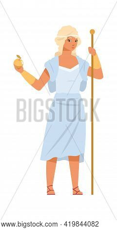 Aphrodite Or Venus. Greek Goddess Of Love, Beauty And Fertility. Cartoon Ancient God With Golden Sta