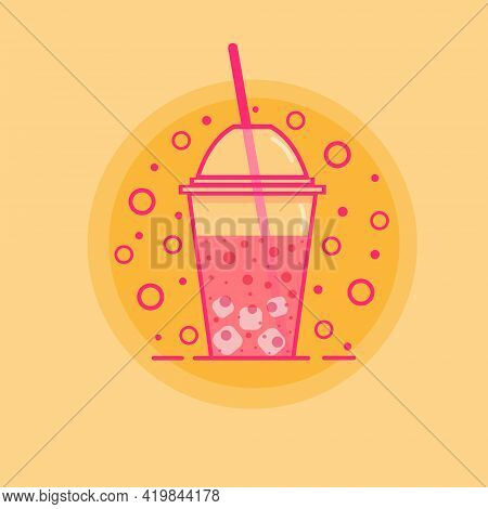 Vector Glass Of Pink Juice With Ice Cubes In Plastic Cup Juice Straw Isolated On Orange Background.