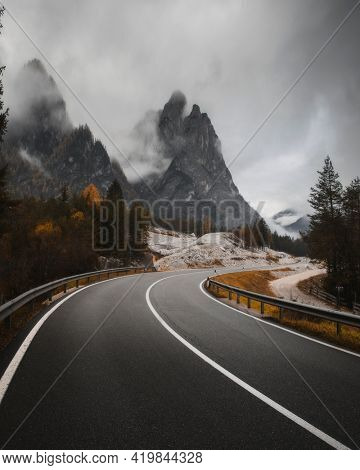 Misty road pass in the Dolomites