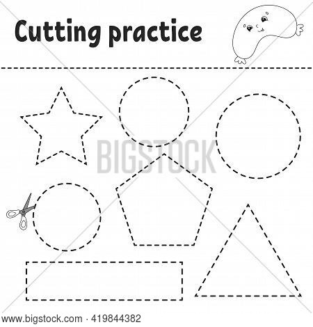 Cutting Practice For Kids. Education Developing Worksheet. Activity Page With Pictures. Game For Chi