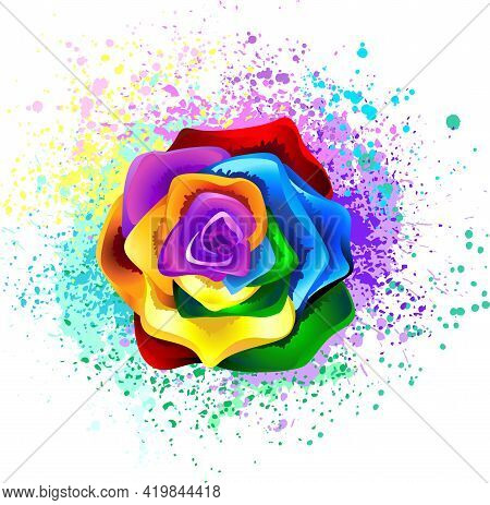 Large, Blooming Rose With Rainbow Petals On White Background, Painted Over With Splashes Of Colorful