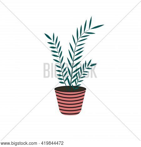 Home Plant In Flowerpot Isolated On White Background In Flat Style. Decorative Element At Home. Vect