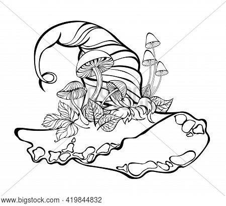 Contour Witch Hat With Artistically Drawn Mushrooms, Leaves And Moss On White Background. Coloring.