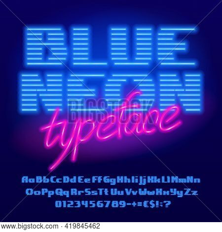 Blue Neon Alphabet Font. Neon Light Bold Letters, Numbers And Punctuation. Uppercase And Lowercase.