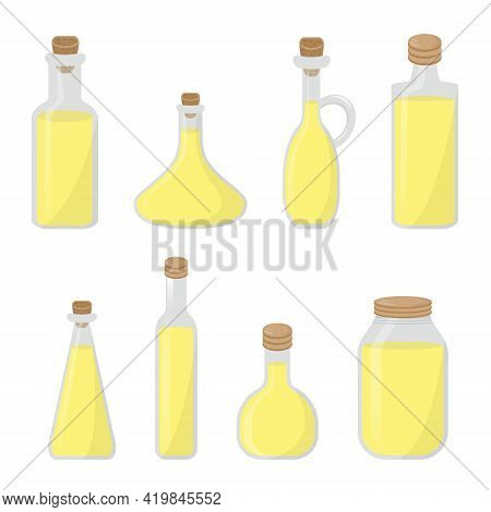 Set Of Bottles With Vegetable Vitamin Oils For Cooking. Isolated Vector Illustration On White Backgr