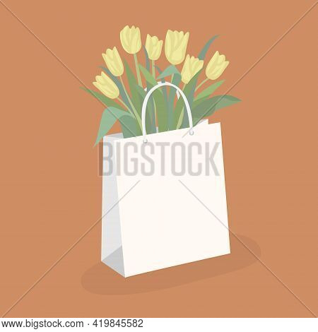 Yellow Tulips In A Package. Vector Illustration On A Bright Background. Floral Composition For Holid