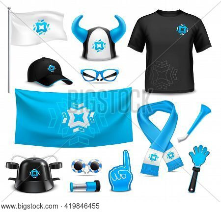 Sport Club Team Supporters Identity Accessories Realistic Images Collection With Flag Cap Glasses Wa