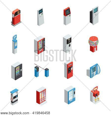 Vending Machines Isometric Icons Set With Food And Parking Machines Isolated Vector Illustration