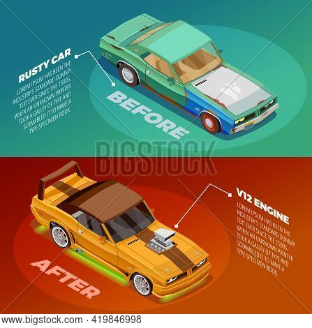 Car Appearance And Performance Tuning 2 Posters Set With Before And After Vehicles Images Descriptio