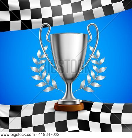 Silver Race Winner Trophy With Metal Bay Laurel Wreath Branches On Checkered Flag Blue Background Ve
