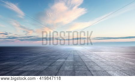 Panoramic Cloudy Blue Skyline With Empty Space For Text  On Dark Concrete Square Floor.  Sunrise  Or