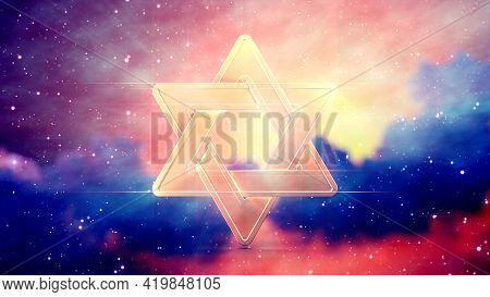 Magen David On Cumulus Clouds Backdrop , Concept Abstract 3d Rendering