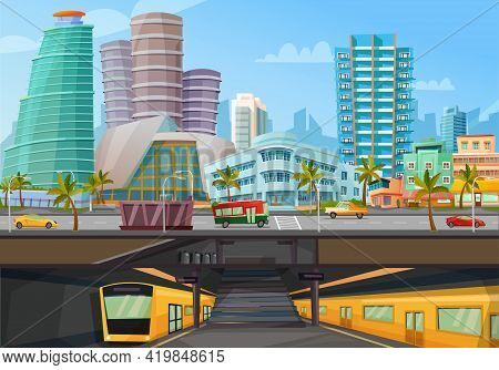 Miami Downtown City Landmarks Towers Skyline And Metro Rail Trains Front View Retro Cartoon Poster V