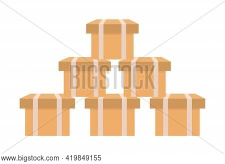 A Stack Of Cardboard Boxes, A Mountain Of Packages. Carton Parcels And Delivery Packages Pile, Flat