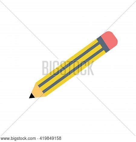 Realistic Yellow Wooden Pencil With Rubber Eraser Icon In Flat Style. Highlighter Vector Illustratio