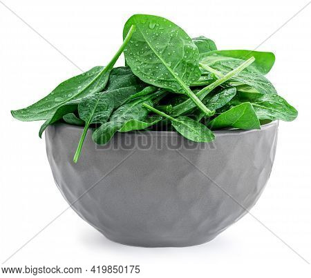 Spinach Leaves In A Bowl  Isolated On White Background. Pile Of Fresh Green Baby Spinach, Healthy Ea