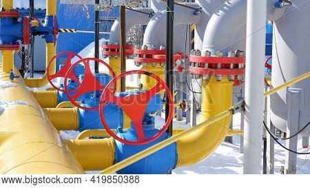 Gas Compressor Station Equipment In Ukraine. Communications, Pipelines, Shut-off Valves And Devices