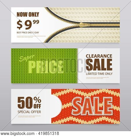 Knitted Fabric Clearance Sale Discount Prices With 3  Patterns Texture Samples Realistic Horizontal