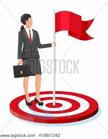 Businesswoman In Suit With Briefcase Standing With Red Flag On Target. Business Woman With Flag. Sym