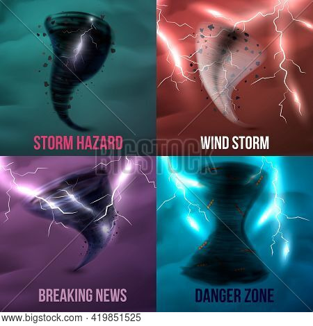 Storm Hurricane Tornado Cyclone Realistic 2x2 Design Concept With Colourful Pictures Of Various Envi