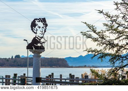 Herrenchiemsee, Germany - 15 December 2019 - Statue Of King Ludwig Ii In Paper Cutout Style Portrait