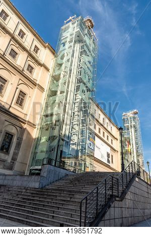 Madrid, Spain - May, 8 2021: Reina Sofia Museum In Central Madrid. It Is One Of The Most Visited Mus