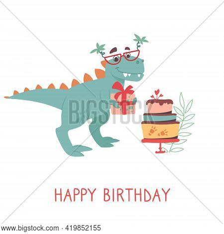 Cute Tyrannosaurus Rex On A Greeting Card. Dino In Sunglasses With Palms Making A Gift. Dinosaur Hol