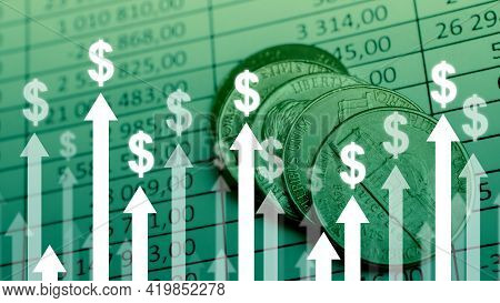 Dollar Currency Growth Concept With Upward Arrows On Charts And Coins Background.