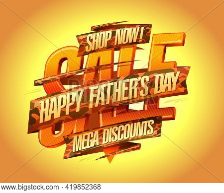 Happy Father's day mega discounts, sale banner mock up with ribbons, rasterized version