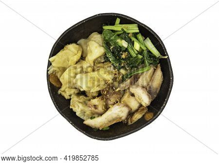 Pork Wonton Or Pork Dumplings With Roasted Pork And Cantonese Vegetables In Plate Isolated On White