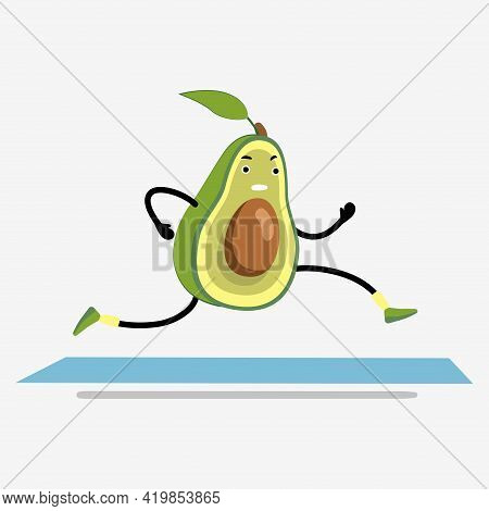 Avocado Running Or Jogging On Treadmill Cartoon. Healthy Sport In Gym, Funny And Happy Fruit For Hea