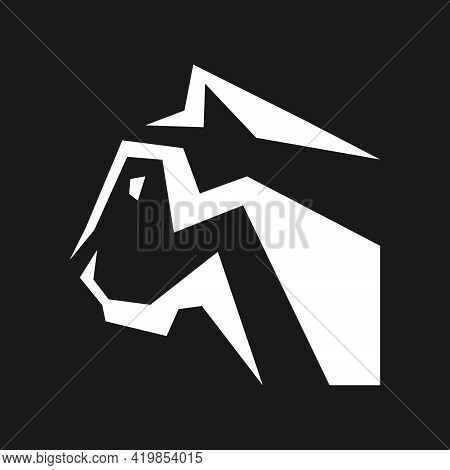 Abstract Black Panther Side View White Symbol On Black Backdrop. Design Element