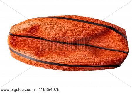 Orange, Rubber, Deflated Basketball Ball Isolated On White Background.