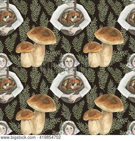 Seamless Pattern With Edible Mushrooms And Girl. Watercolor Illustration. The Print Is Used For Wall