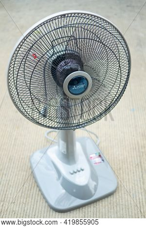 Samut Prakan, Thailand - May 9, 2021 : The New Item In Home, Soft Gray Electric Fan Size Of 16 Inche