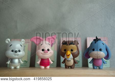 Samut Prakan , Thailand - May 9, 2021 : Cute Toy Of Winnie The Pooh Figures Mystery Blind Box Collec